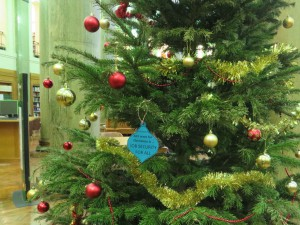 job security Christmas bauble on the Brotherton Library Christmas tree