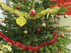 job security Christmas bauble on the Health Sciences Library Christmas tree