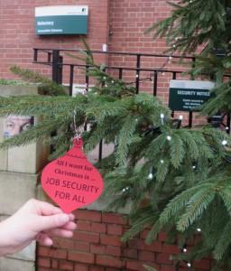 job security Christmas bauble on the Christmas tree outside LUU