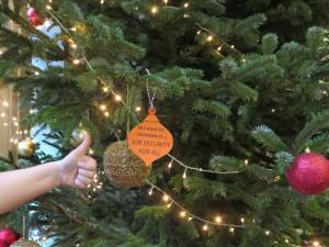 job securty Christmas bauble on Parkinson Court Christmas tree