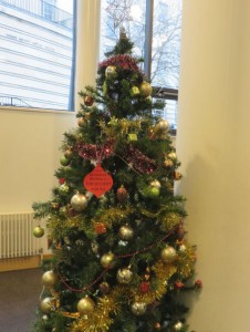 job security Christmas bauble on the Ziff building Christmas tree