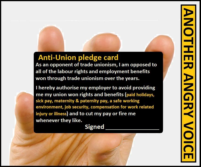 anti trade union bill pledge card