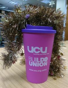 UCU keep cup with tinsel