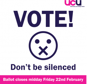 Vote! Don't be silenced. Ballot closes midday Friday 22nd February