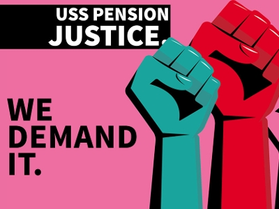 USS pension justice. We demand it. Image of two raised fists, blue and white, pink background.