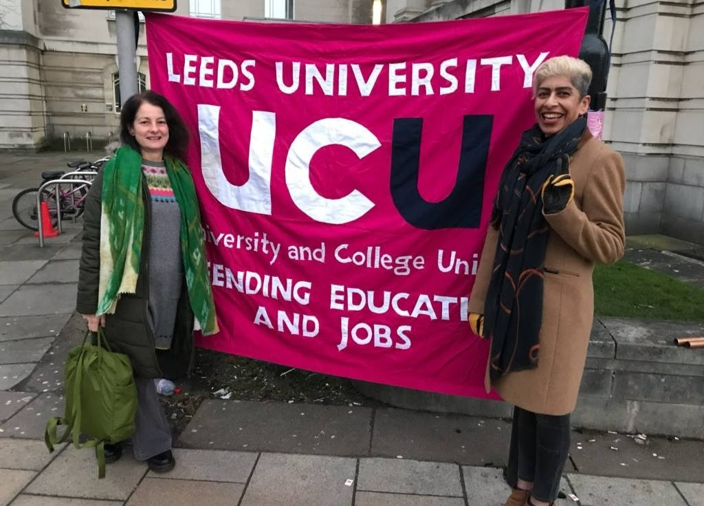 Nita Sanghera with branch campaigns officer Lesley McGorrigan with the branch banner