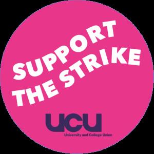 "Sticker design saying ""support the strike"""