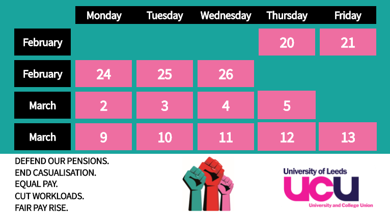 Strike days as listed at https://www.ucu.org.uk/article/10621/UCU-announces-14-strike-days-at-74-UK-universities-in-February-and-March