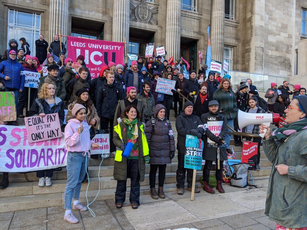 strike rally on Parkinson building steps
